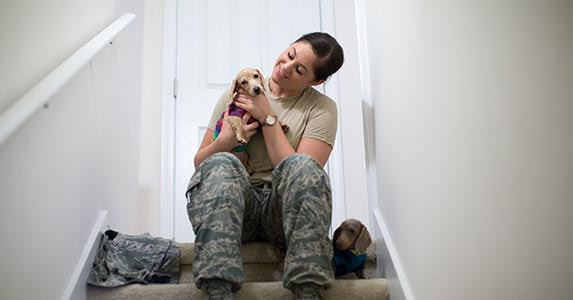 Woman vet with a puppy